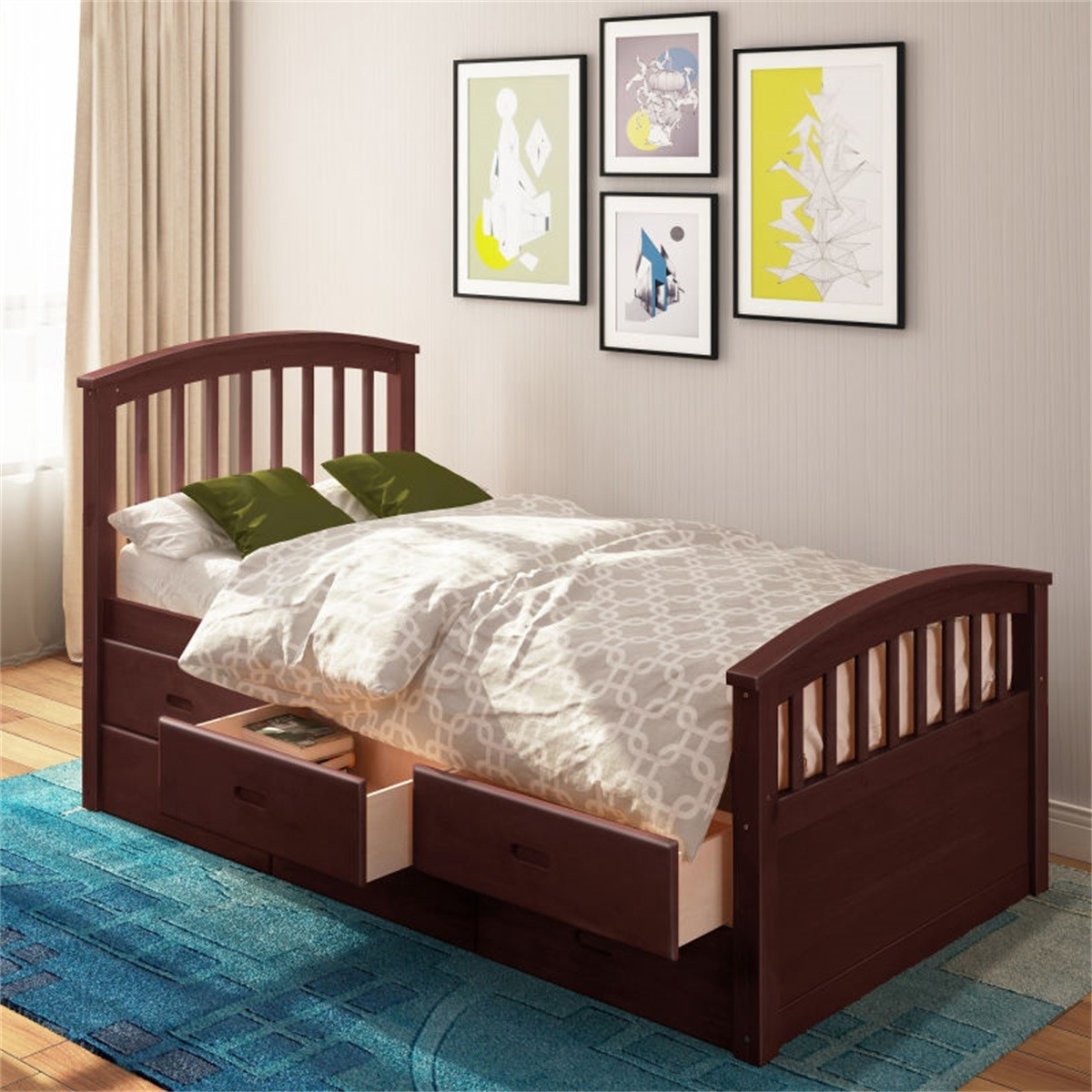 ModernLuxe Twin Size Platform Storage Bed Solid Wood Bed ...