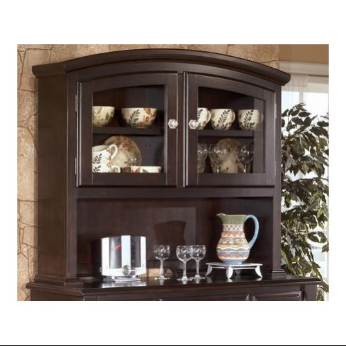 Ashley  D52081 Ridgley Hutch with Satin Nickel Knobs  Selected Veneer and Hardwood Solids in Dark Brown