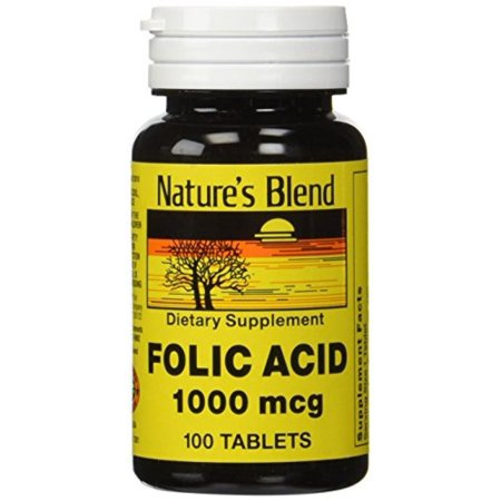 - Folic Acid 1000 mcg 1,000 mcg 100 Tabs by Natures Blend