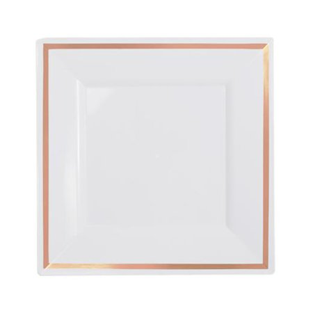 Exquisite Wedding & Party Dinnerware, Disposable Plastic Square Salad/Dessert Plates (8 Inch) - White with Rose Gold Rim - 40 Pack