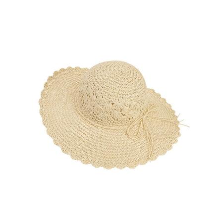 Twig & Arrow Women's Straw Floppy Hat With Scallop Edge, Straw Band and Bow (Floppy Hat With Bow For Women)