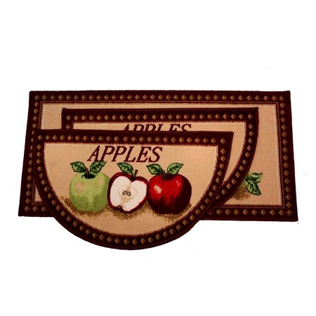 Kashi Home Mixed Apple 3pc Kitchen Rug Set, (2) Slice 18