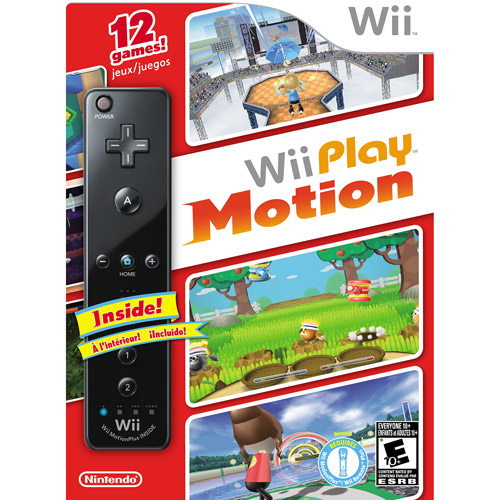 Nintendo 90235 RVL R SC8E Wii Play Motion with Black Wii Remote Plus (12 Games)