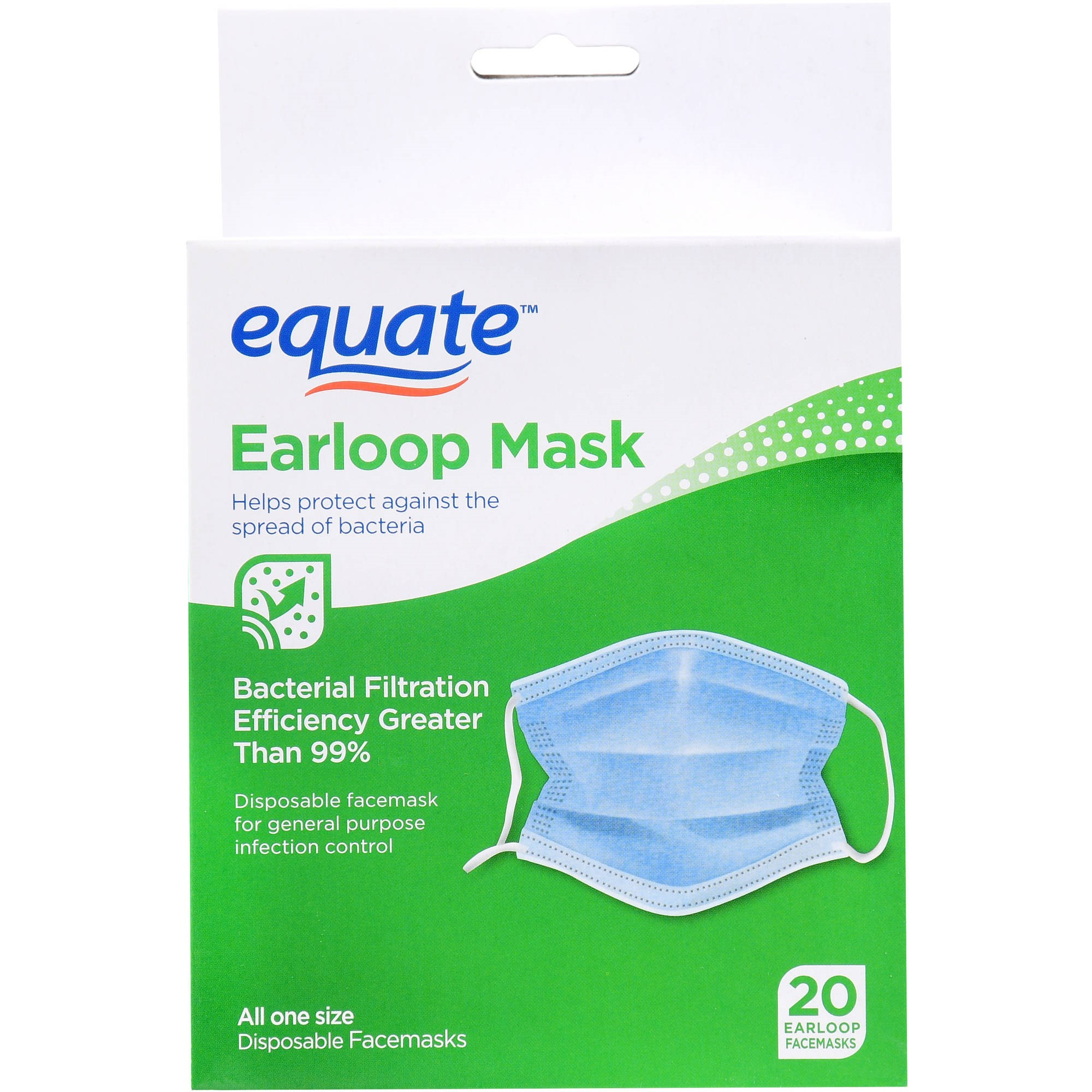 Equate Earloop Mask Disposable Mask, 20 Ct by Wal-Mart Stores, Inc.