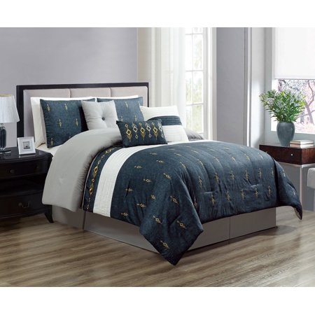 wpm 7 piece bedding set navy blue gold embroidered comforter with