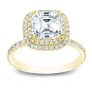 Auriya  1 3/4ctw Double Halo Asscher Cut Diamond Engagement Ring 14k Gold GIA Certified