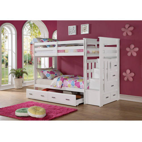 Allentown Twin Over Twin Wood Bunk Bed, White