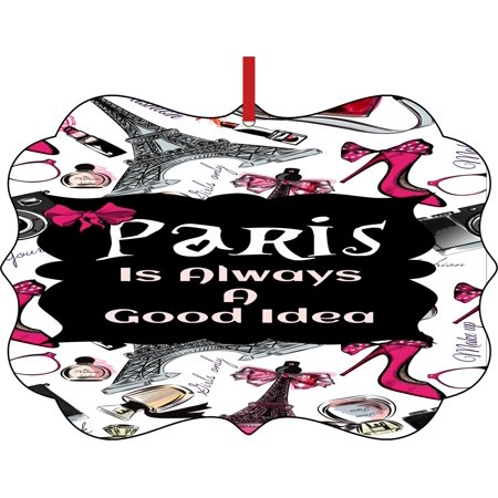 Paris is Always a Good Idea Elegant Aluminum Semigloss Christmas Ornament Tree Decoration - Unique Modern Novelty Tree Décor Favors