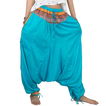 Tribe Azure Harem Casual Boho Pants Comfortable Baggy Hippie Summer Fall Genie Aladdin Yoga Bohemian Beach Gypsy Loose Blue
