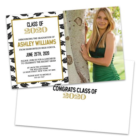 Cap Toss Personalized Graduation Invitation