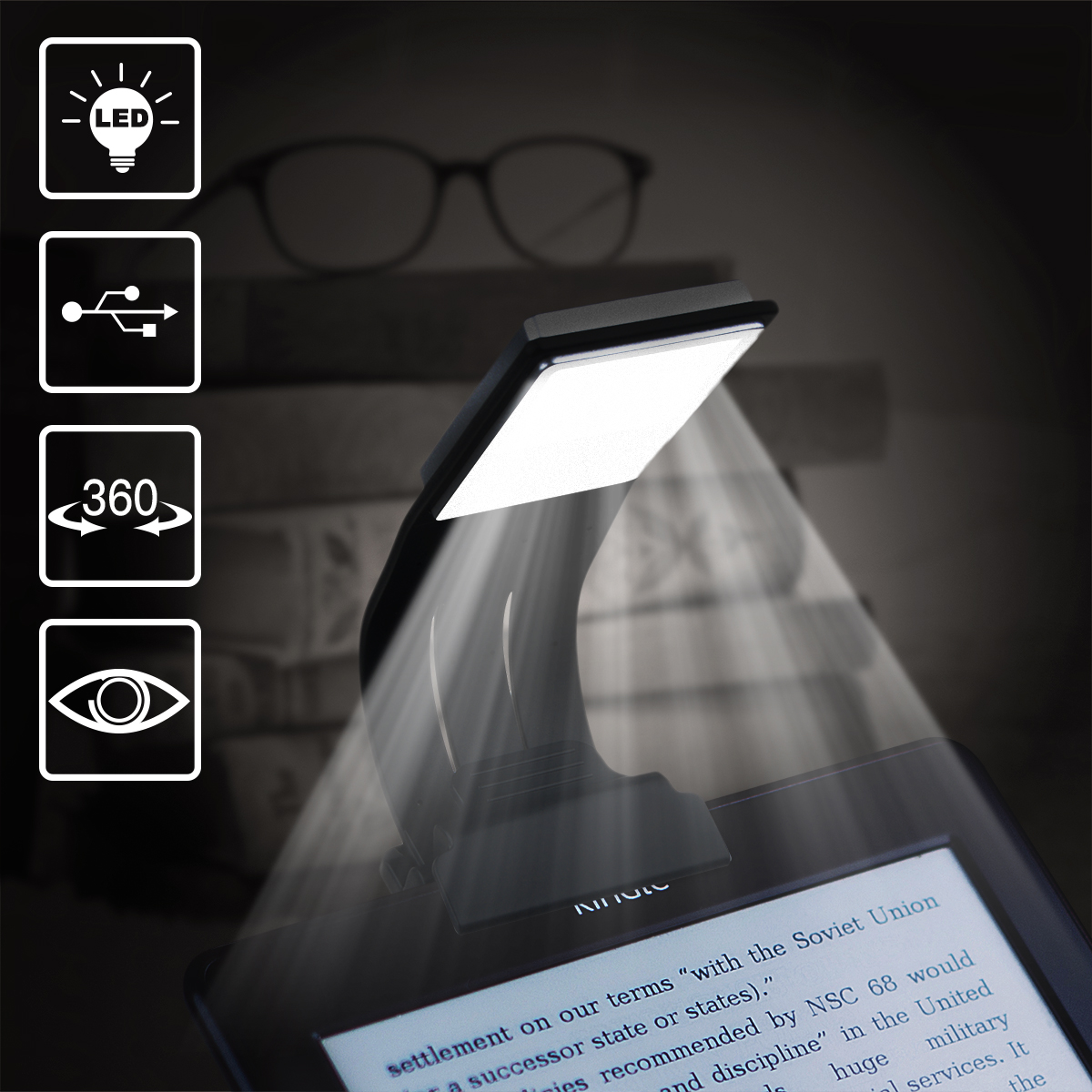 Book Light, WeGuard Ultrathin Flexible Reading Light for eBook Book Rechargeable Clip on LED Book Lamp for Reading in... by