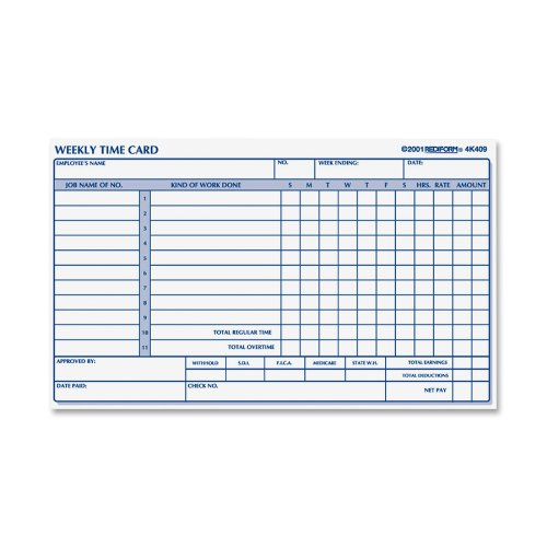 Employee Time Card, Weekly, 4.25 x 7 Inches, 100 per Pad (4K409) By Rediform by