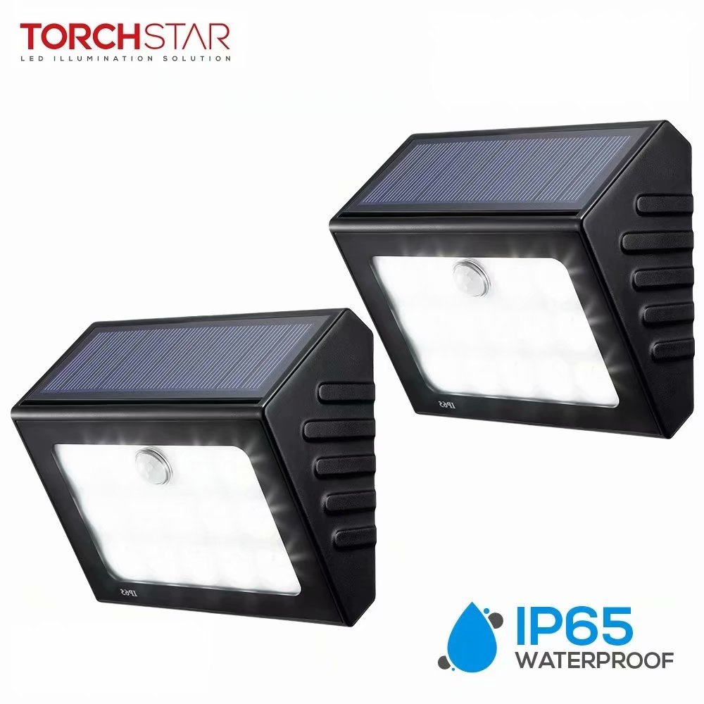 TORCHSTAR 2 Pack LED Solar Motion Sensor Lights, Wireless Outdoor Wall Lighting for Garage