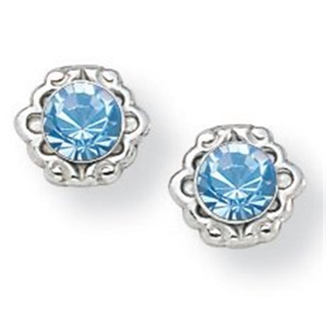 PalmBeach Jewelry 5380703 Birthstone Stud Earrings in Sterling Silver March - Simulated Aquamarine