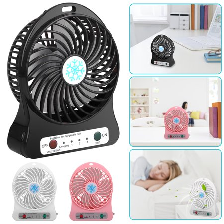 3 Speeds Mini Desk Fan, TSV Rechargeable Battery Operated Fan with LED Light and 1200mAh Battery, Portable USB Table Fan Quiet for Home, Office, Travel, Camping, Outdoor, Indoor Fan - Battery Operated Fan And Light