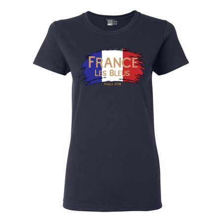 Ladies France Les Bleus Russia 2018 Football Team Fan Wear DT T-Shirt - Team Spirit Wear