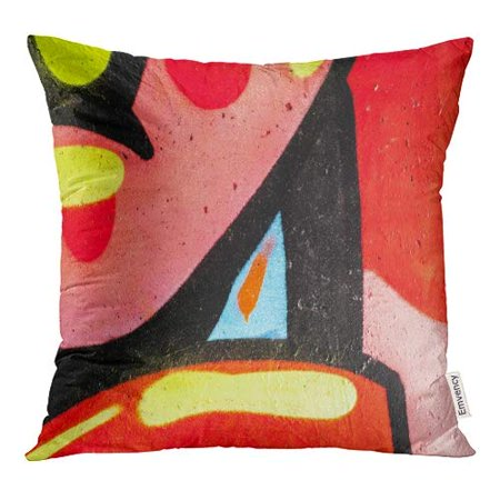 BOSDECO Colorful Splash Abstract Graffiti Wall Street Red Artist Pillow Case Pillow Cover 20x20 inch - image 1 of 1