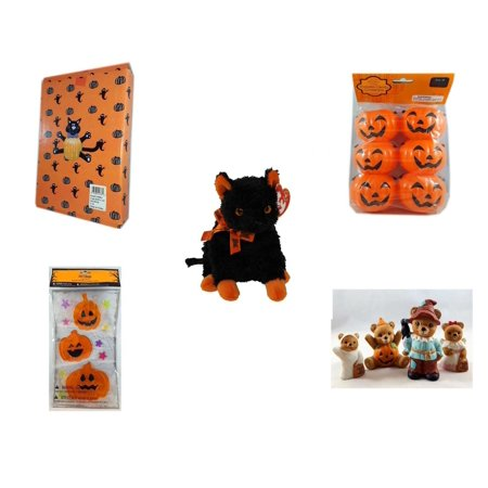 Halloween Fun Gift Bundle [5 Piece] -  Cat Pumpkin Push In 5 Piece Head Arms Legs - Party Favors Pumpkin Candy Containers 6 Count - Ty Beanie Baby
