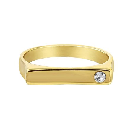 - 14k Gold Plated Clear Square Little Diva Baby Rings for Girls