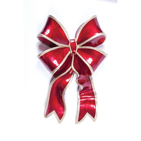 "41.5"" Commercial Grade Red Bow Fiberglass Christmas Display Decoration"