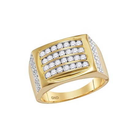 14k Yellow Gold Mens Round Diamond 4 Row Rectangle Fashion Ring 1-1/3 Cttw