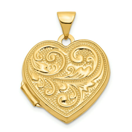 14k Yellow Gold Scrolled Love You Always Heart Photo Pendant Charm Locket Chain Necklace That Holds Pictures Gifts For Women For Her ()
