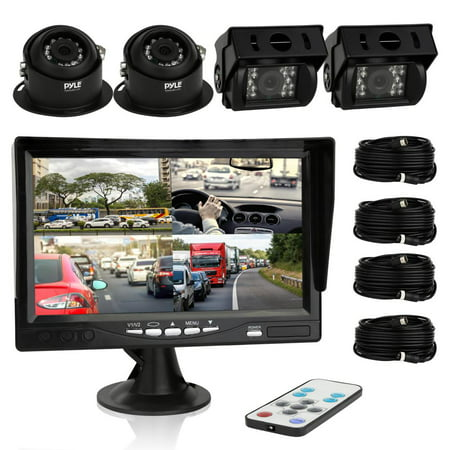 PYLE PLCMTRS77 - Car Rear View Camera and Video Monitor, IP68 Waterproof, Commerical Grade, 4 Cameras, Night Vision, 7-Inch LCD Display for Trailer, RV, Trucks, Pickup Trucks, Cargo Vans, etc.