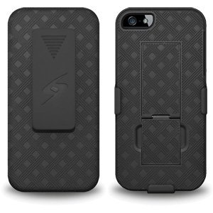 Premium Shell Holster Combo Slim Shell Case Built in Kickstand + Swivel Belt Clip Holster for iPhone 5, iPhone 5s, iPhone SE - Black