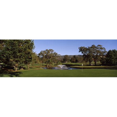 Fountain in a golf course Silverado Country Club Napa Valley Napa County California USA Stretched Canvas - Panoramic Images (12 x 36) - Fountain Valley Halloween