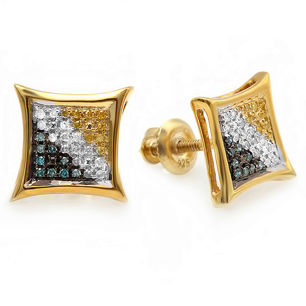 0.15 Carat (ctw) Blue, White & Yellow Round Diamond Micro Pave Setting Kite Shape Stud Earrings