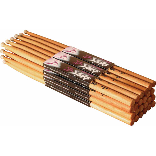 On Stage 5A Hickory Drum Sticks, 12 Pair, Nylon Tip