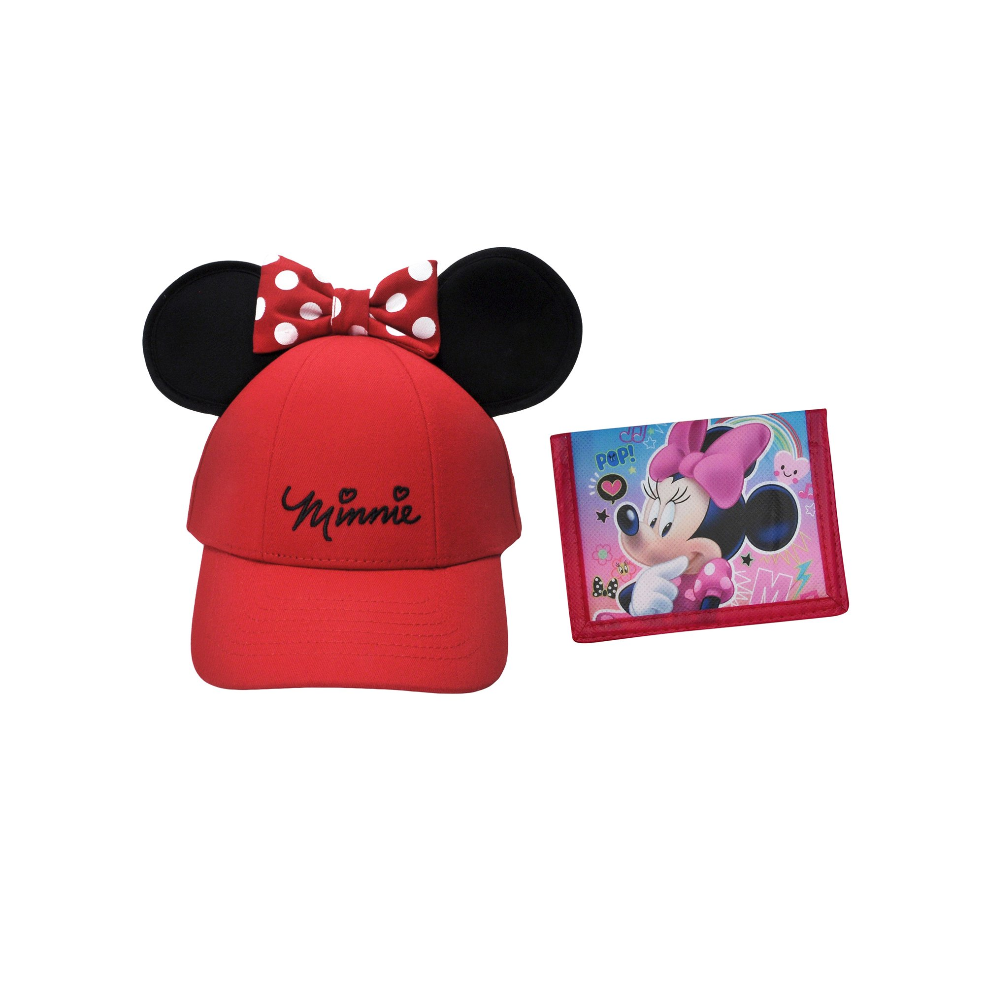 36a3e37a418 Girls Red Minnie Mouse Ears Hat with Minnie Wallet 2Pcs