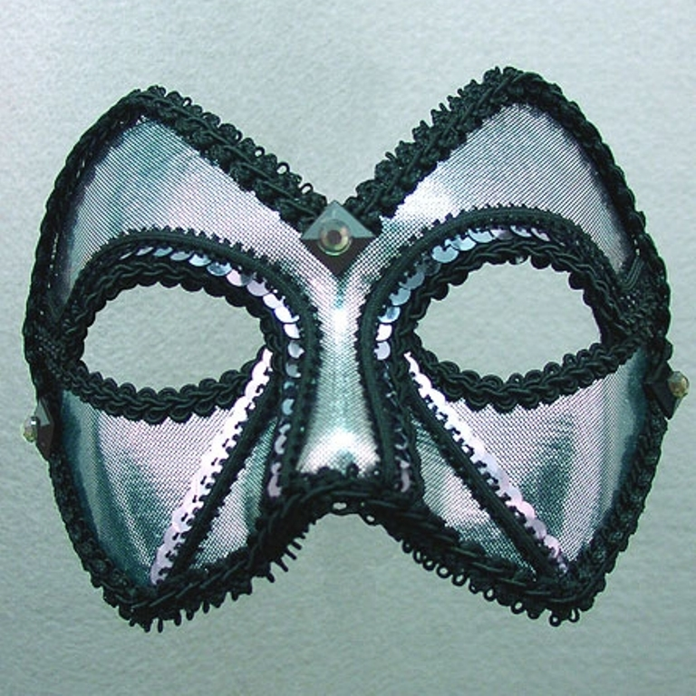 """Midnight Men"" Pewter Silver Black Sequin Masquerade Ball..."