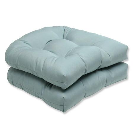 set of 2 19 sunbrella cool aqua blue outdoor patio wicker seat cushions. Black Bedroom Furniture Sets. Home Design Ideas