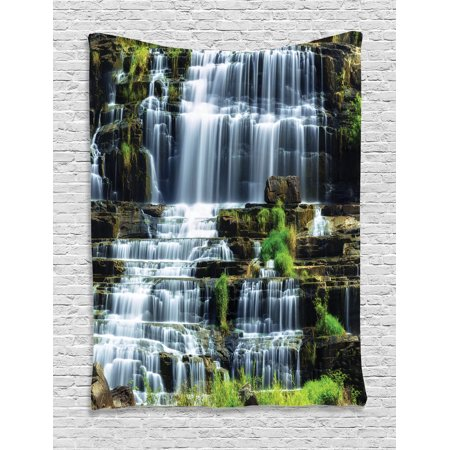 Rainforest Decorations Wall Hanging Tapestry, Waterfall In The Middle Of Tropical Jungle Natural Scenery Countryside Style, Bedroom Living Room Dorm Accessories, By Ambesonne (Jungle Wall Tapestry)