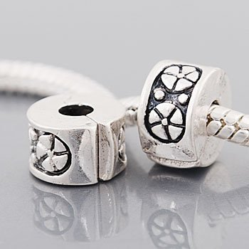 2  Antique Silver Tone Wheels Clip Lock Stopper Bead Charms  Compatible With Troll  Biagi  Zable  Chamilia Charm Bracelets