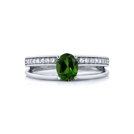0.96 Ct Oval Green Chrome Diopside 925 Sterling Silver Ring