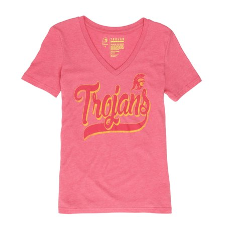 NCAA USC Trojans Women's Tommy Script V Neck Short Sleeve Tee (Usc Trojans Tee)