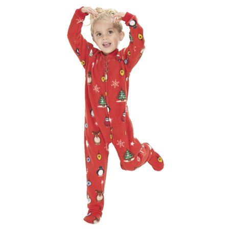 Footed Pajamas - Footed Pajamas - Holly Jolly Christmas Kids Fleece Onesie  - Walmart.com 9af6777d6