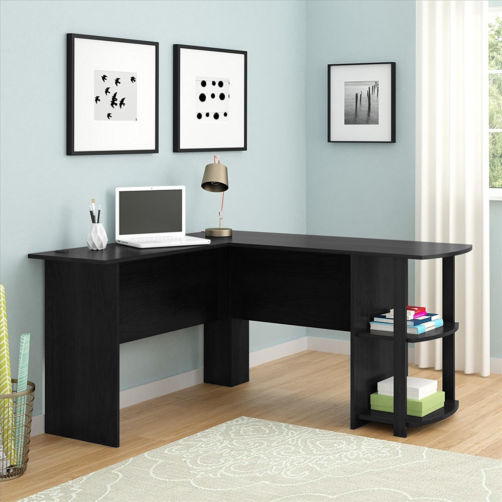 Zimtown L-Shaped Computer Desk Office Workstation Laptop Wooden Table  44-layer Bookshelves - Walmart.com