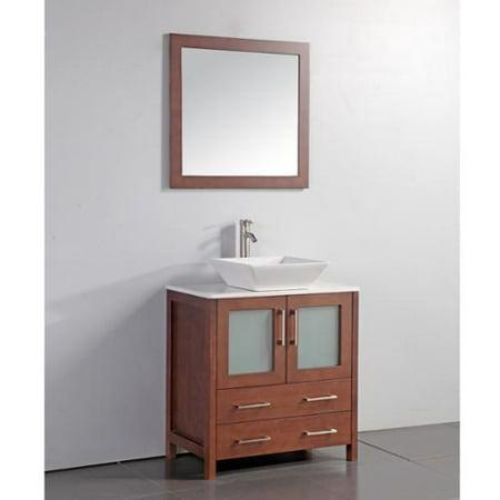 White Artificial Stone Top 30 Inch Vessel Sink Cherry Bathroom