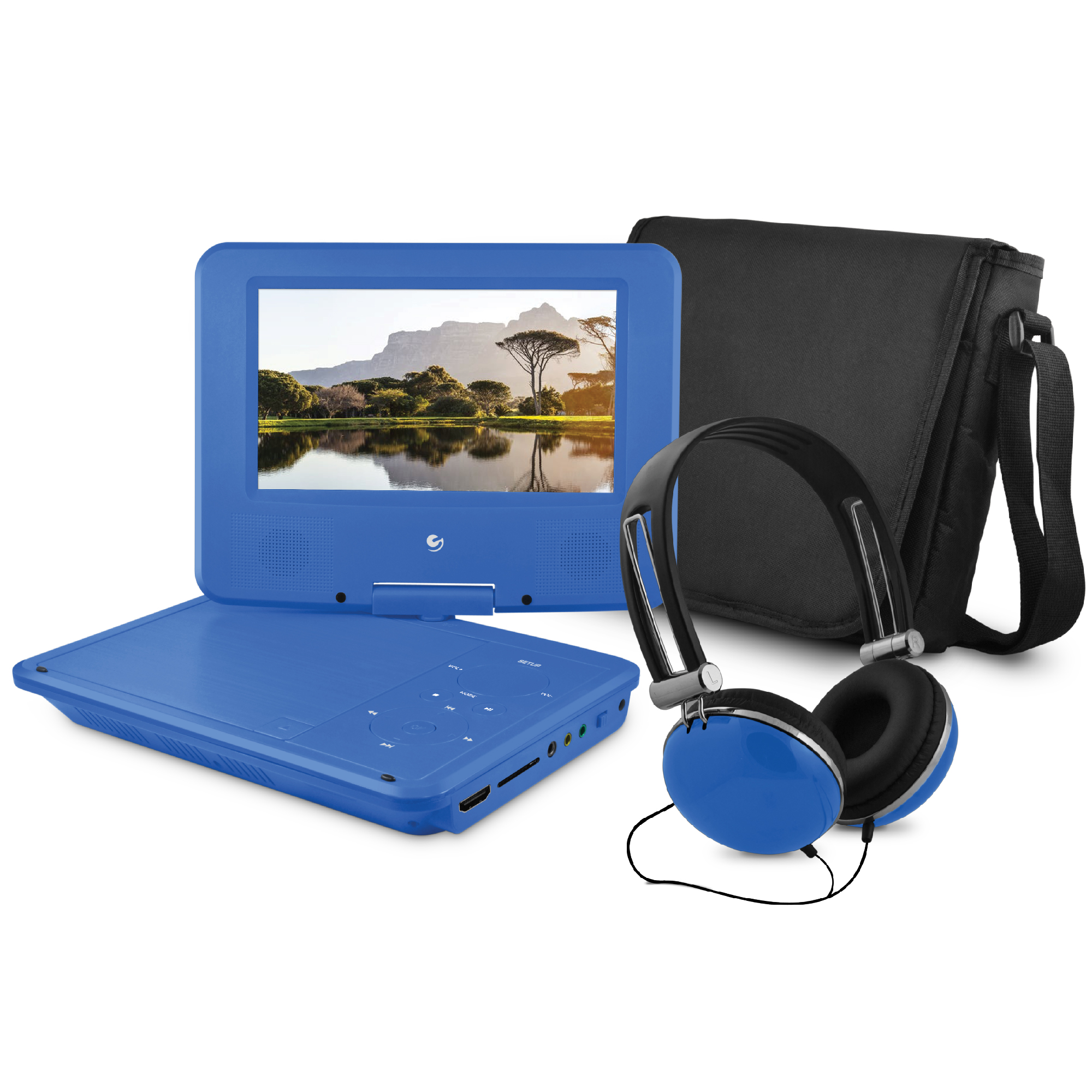 "Ematic 7"" Portable DVD Player Bundle with HDMI Input and ROKU Connectivity - Blue"