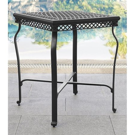Outdoor patio cast aluminum bar height bistro table for Black patio table
