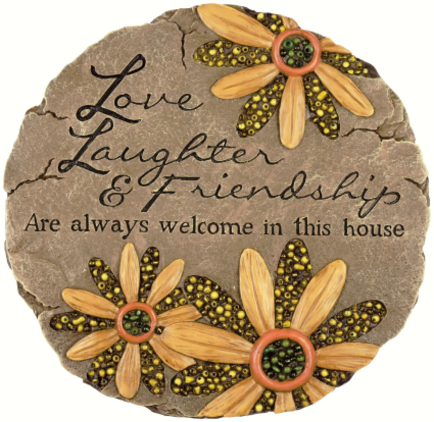 """9.25"""" Love, Laughter and Friendship Beaded Floral Outdoor Garden Patio Stepping Stone by CC Outdoor Living"""