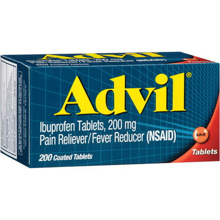 (2 pack) Advil® Pain Reliever/Fever Reducer (Ibuprofen) 200mg Tablets 200 ct Box, 200 (Advil Coated Tablets)