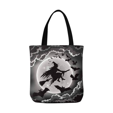 ASHLEIGH Witch Silhouette with Bats Funny Halloween Theme Canvas Tote Bag Resuable Grocery Bags Shopping Bags Perfect for Crafting Decorating for Women Men Kids