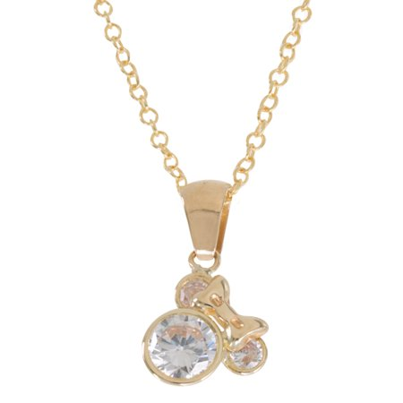 Mickey Mouse 10kt Yellow Gold Crystal Pendant, 18 Disney Couture Set Necklace