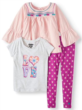 c4f94faab Product Image Limited Too Bell Sleeve Top, Graphic Tee & Printed Leggings,  3pc Outfit Set (