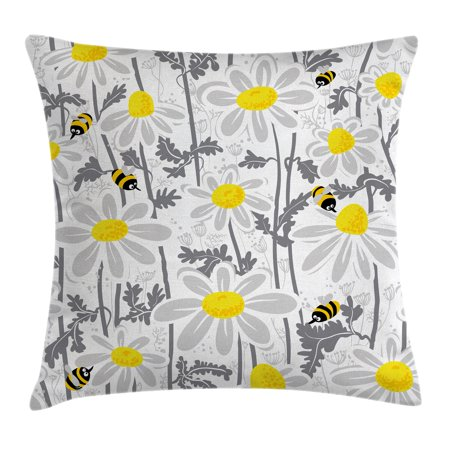Grey Decor Throw Pillow Cushion Cover, Daisy Flowers with Bees in Spring Time Honey Petals Floret Nature Purity Bloom, Decorative Square Accent Pillow Case, 20 X 20 Inches, Yellow White, by (Best Flowers To Attract Honey Bees)