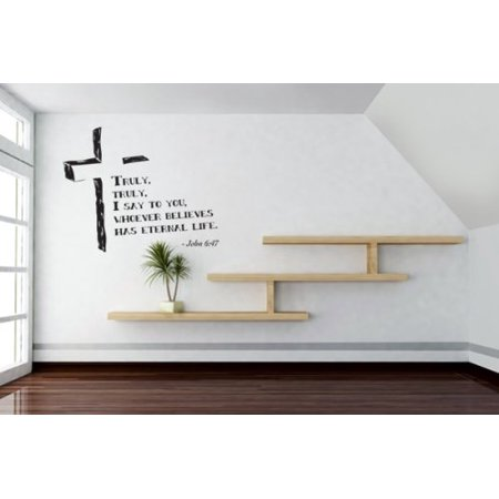 Truly, truly, I say to you, whoever believes has eternal life - John 6:47 Wall Decal - wall sticker, Christian quotes and sayings - W5167 - White, 16n x 13in - Christian Halloween Quotes